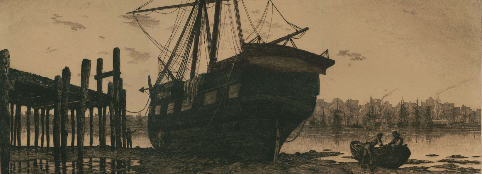 (detail) Charles Mielatz 'The Dismantled Ship' (1887), which inspired Walt Whitman's poem